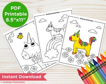 PRINTABLE Unicorn Coloring Pages, Instant Download Unicorn Party Activity Page, Magic Illustrated Coloring Page PDF, Unicorn Party Supply