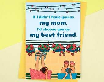 Funny Mother's Day Card, Funny Mother Card, Card for Mom, Best Friend Card, Gift for Mom, Best Friend Mother Card, Mother Birthday Card,