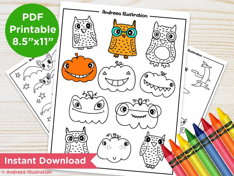 PRINTABLE Halloween Coloring Pages Instant Download Pumpkin image 0