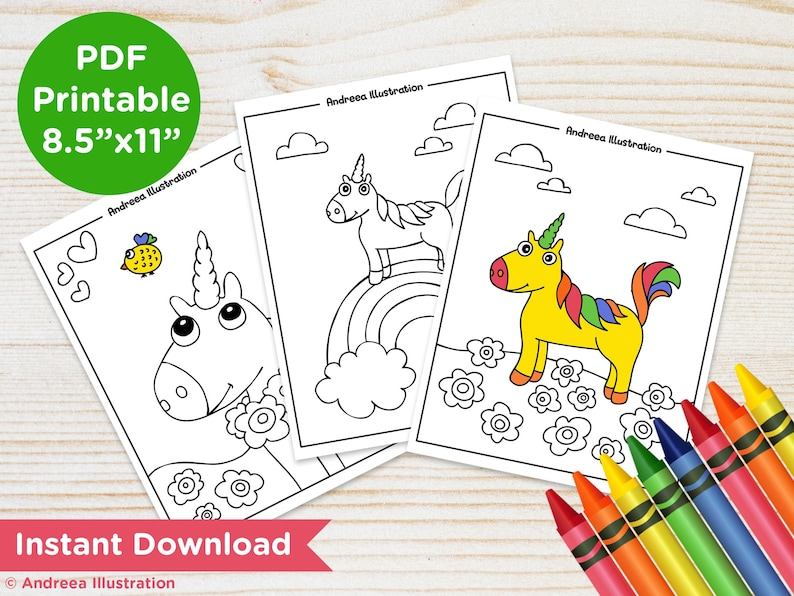 PRINTABLE Unicorn Coloring Pages Instant Download Unicorn image 0