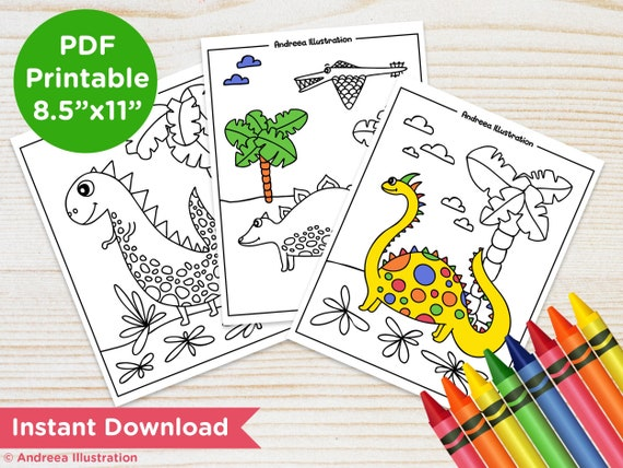 PRINTABLE Dinosaur Coloring Pages, Instant Download T-Rex Party Activity  Page, Dino Illustrated Coloring Page PDF, Dinosaur Party Supply