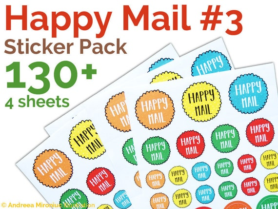 Happy mail round stickers happy mail sticker pack happy post labels pretty packaging stickers happy mail cute stickers for packaging from
