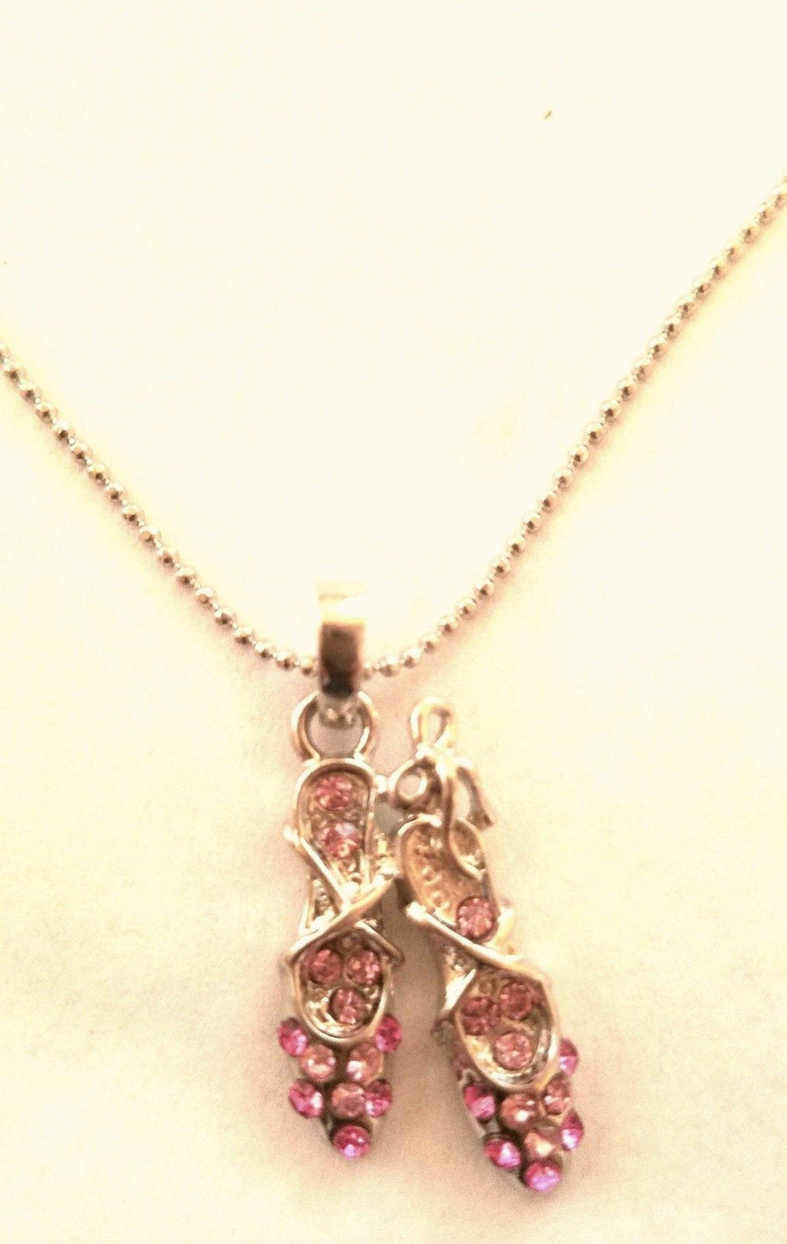 la coqueta jewelry women fashion pink color rhinestone ballerina ballet shoes pendant silver tone necklace
