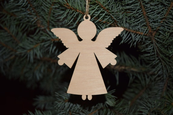 Set of wood angel christmas ornaments christmas decoration etsy