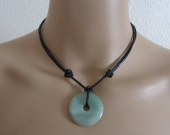 Green Aventurine Donut Pendant Necklace Adjustable Slip Knot Gemstone Leather Necklace
