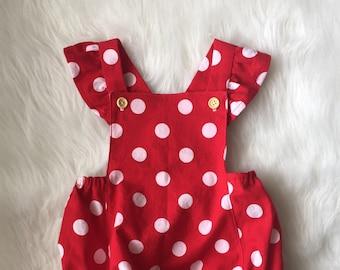 b60934c63 Flutter sleeves polka dot romper. Spring romper. Minnie romper. Baby Girl  Romper. Valentines romper. Sun suit. Baby Bubble
