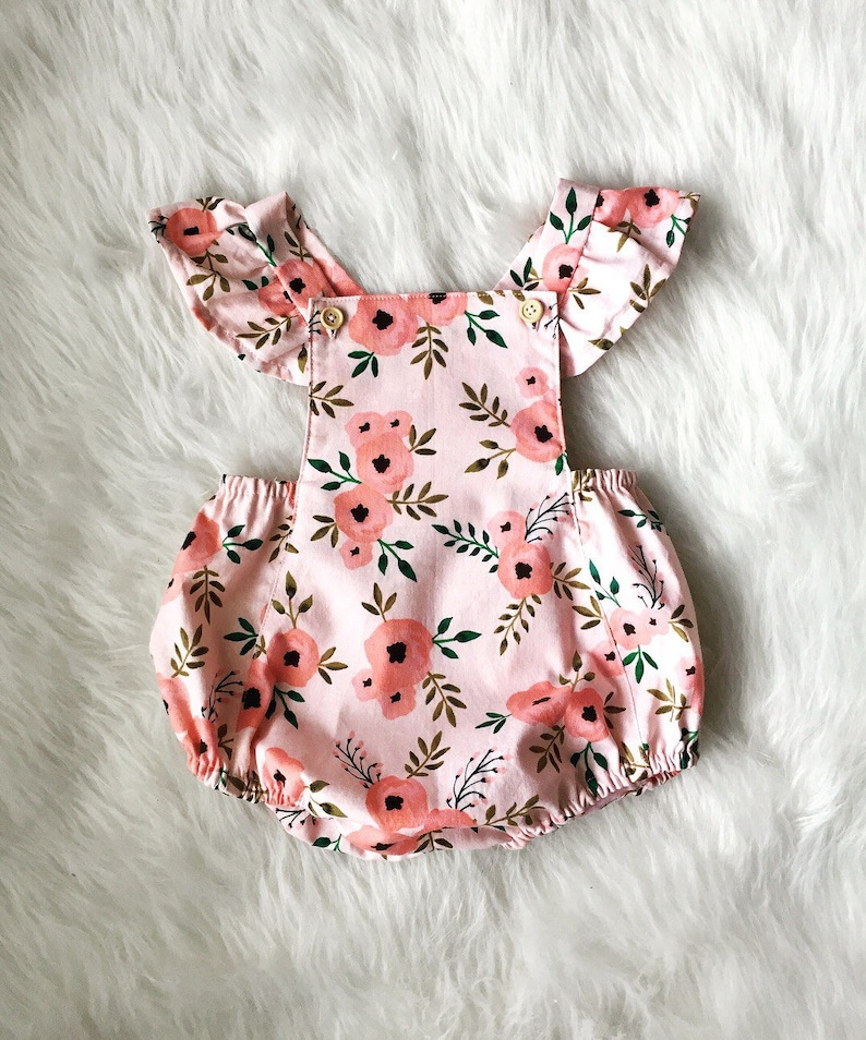 f52ffc24777d Summer romper Pink Floral romper Spring Romper Baby Girl