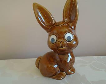 ceramic googly eyed rabbit money box