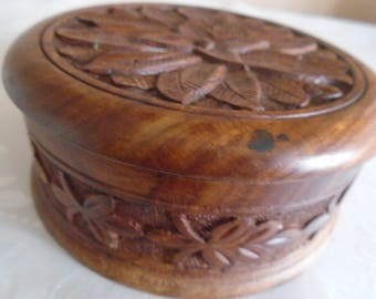 round carved sectional wooden  box