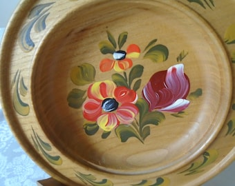 hand painted wooden decorative plate