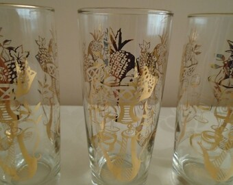 3 x glass tumblers gold coloured gilt pattern