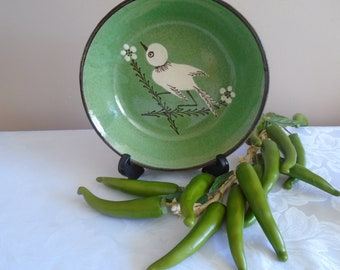hand painted terracotta slip ware  bowl from France