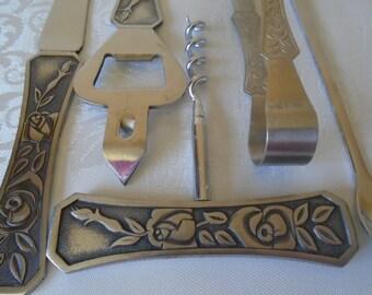 Stainless steel rose design bar set