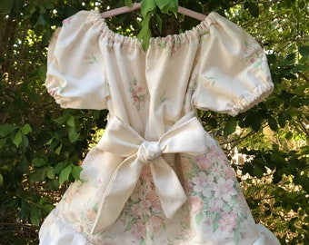 Girls Vintage floral dress with sash Peasant style. Upcycled and new materials