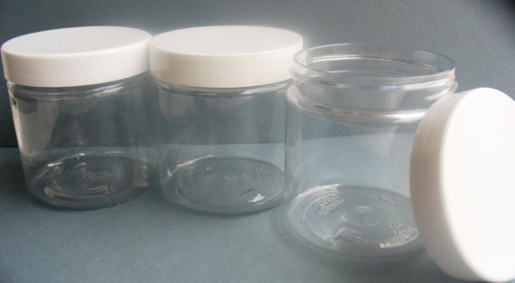 4 Oz Size Clear Plastic Jar With White Screw On Lid