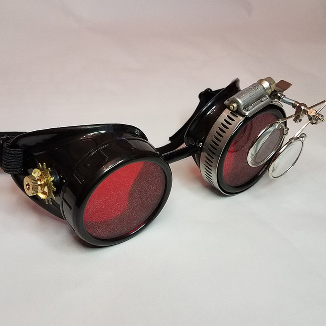 Black Victorian Steampunk Gothic Goggles with Red Lenses Brass Accents and Magnifying Loupes - Vampire Cyber Rave Optic-Conductors