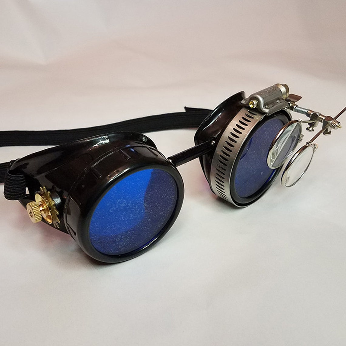 STEAMPUNK GOGGLES Black with Blue Lenses Brass Accents and Magnifying Loupes Victorian Welding Motorcycle Cyber Optic-Conductors Rave