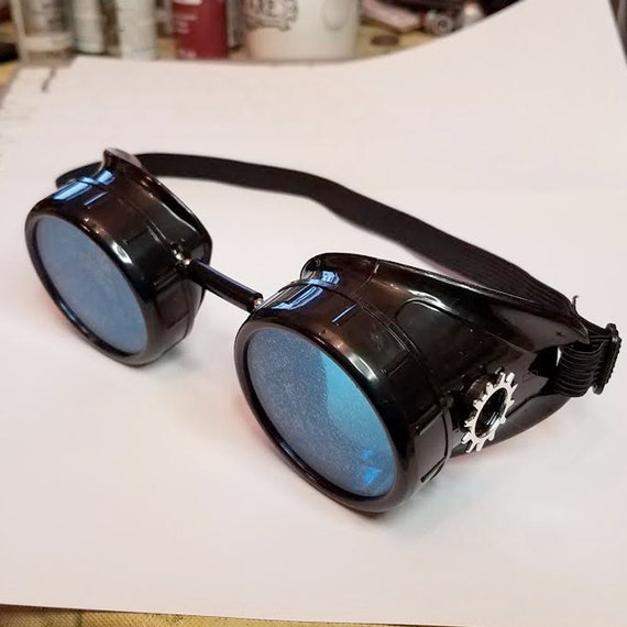 Black Steampunk Goggles w/ Blue Lenses and Silver Gears | Etsy