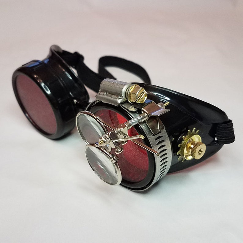 Steampunk Brille Schwarz Mit Roten Linsen Messingakzente Und Etsy
