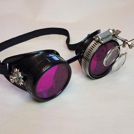 1x paio LENTI per Occhiali Steampunk Goggles colore ROSSO