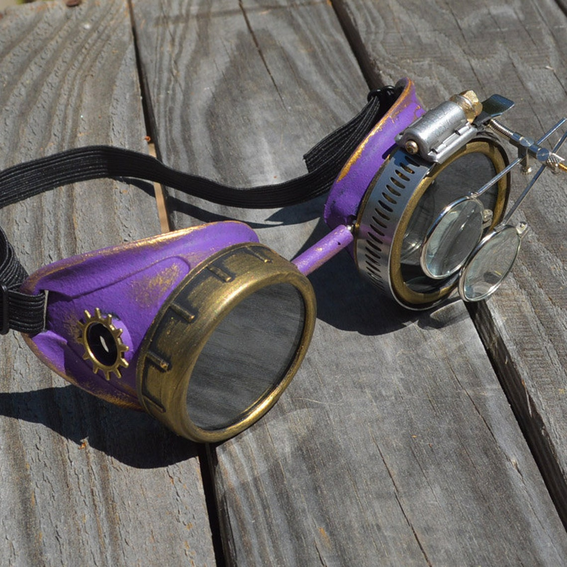 Purple and Gold Steampunk Royalty Goggles w/ Gold Gears and Magnifying Loupes - Victorian Gothic Optic-Conductors