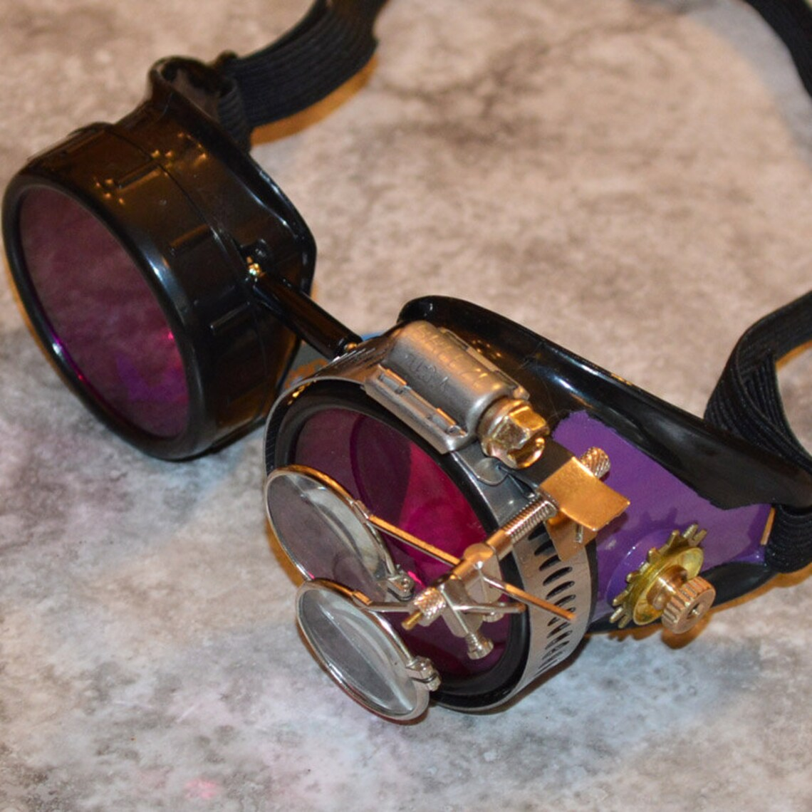 Gothic, Steampunk Goggles, Steam Punk, Aviator Goggles, Welding Goggles, Steam Punk Goggles, Fallout, Sunglasses, Victorian, Purple