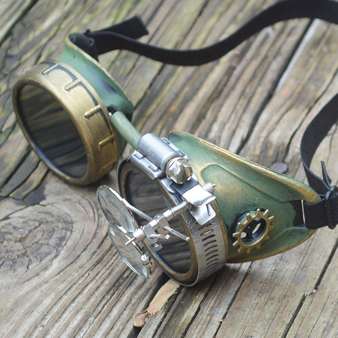 Green and Gold Steampunk Goggles with Gold Gears and Loupes Apocalypse Scientist Space Captain Motorcycle Cyber Sunglasses Victorian Rave