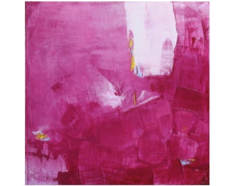 Abstract Expressionism Original Bold Bright Fuschia Oil on Board Painting by Paul Ashby