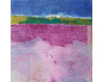 Small bright abstract modern oil painting contemporary 12 x 12 Dallas artist Paul Ashby
