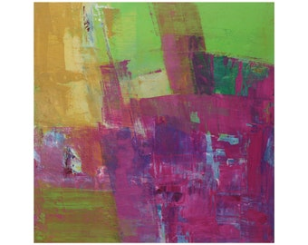 Bright Fuschia Pink Green abstract modern oil painting ready to hang contemporary 12 x 12 Dallas artist Paul Ashby