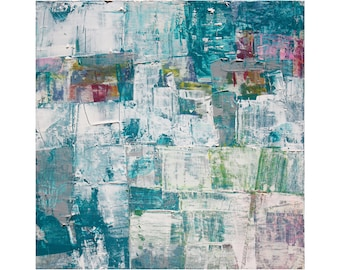 Bright Watery abstract art modern oil painting contemporary art Blue Greens White