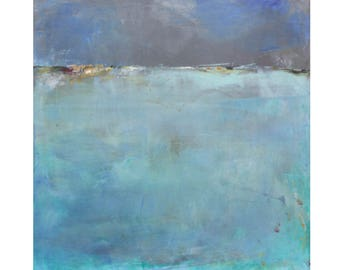 Watery blues turquoise contemporary Original Abstract Oil Painting 12 x 12 square art Dallas artist Paul Ashby MCM