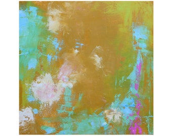 Modern Bright Abstract oil painting MCM mid century modern ready to hang contemporary 12 x 12 Dallas artist Paul Ashby