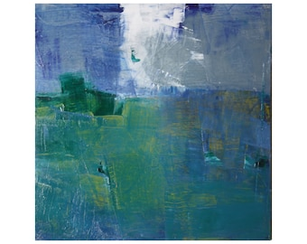 small abstract original landscape oil painting 12 x 12 modern blue greens whites Dallas artist Paul Ashby contemporary Cottage Chic