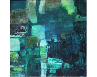Abstract Art modern original oil painting contemporary art Blue Greens Earth Tones