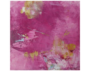 Bright Modern Abstract Fuschia Pink oil painting MCM mid century modern ready to hang contemporary 12 x 12 Dallas artist Paul Ashby