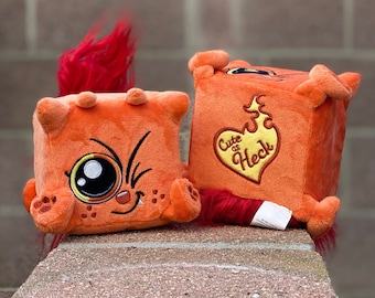 """This is Hot Stuff! Hot Sauce the cute plush devil kitty by Squaredy Cats is a """"Cute as Heck!"""" cat made of FIRE!"""