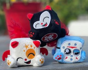 3-Pack BAG, Squaredy Cats mini plush, Maneki Neko, Small Fri, and Lucky 13 black cat 2 inch cube plushies