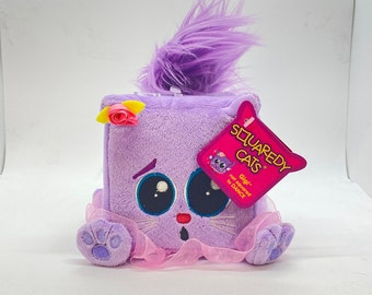 """Original tags! Classic purple Squaredy Cat — Gigi (licensed by Squaredy Cats) """"not squared to dance"""" plush cat for the collector"""