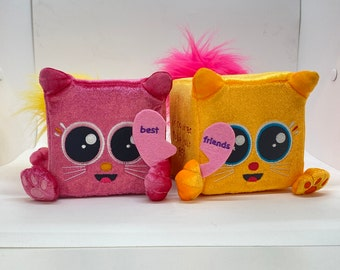 Set of 2 Original Prototypes — NEVER PRODUCED — Rare Squaredy Cats, BFFs — for the collector; my original design licensed by Kids Preferred