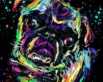 Pug Art, Dog Painting, Pet Art