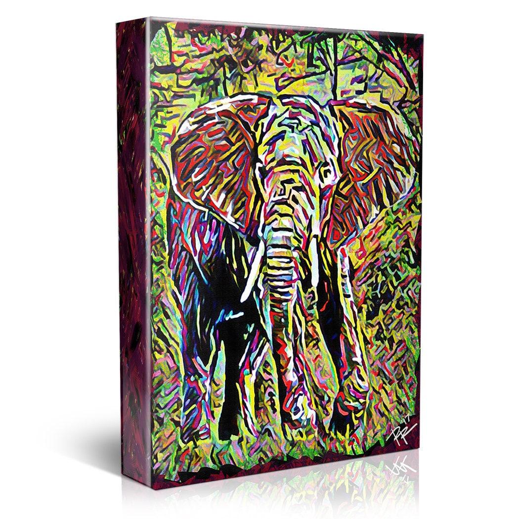 Jungle Canvas Tropical painting Elephant Art
