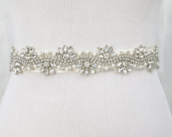 Bridal Sash, Bridal Belt, Wedding Sash, Wedding dress belt, Thin sash, Bridesmaid Belt, Crystal Sash, Rhinestone Belt