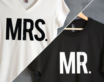 Mr & Mrs T-shirt Package, Mr tee, Mrs tee, Hubs and Wifey Package, wedding gift, bridal shower gift, honeymoon shirts, Husband, Anniversary
