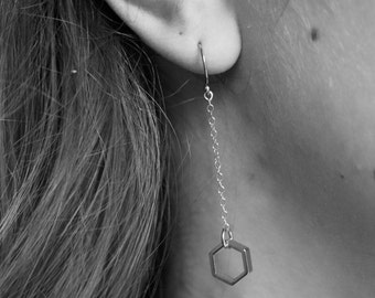 Hexagon Dangly Earrings with 14k Gold Filled Chain