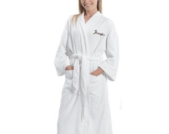 Embroidered Terry Cloth Velour Bathrobe - Name Robe - Personalized Bathrobes  - Bridesmaids Gifts - Gifts for Her - Bed and Bath - Valentines 3145dbe70