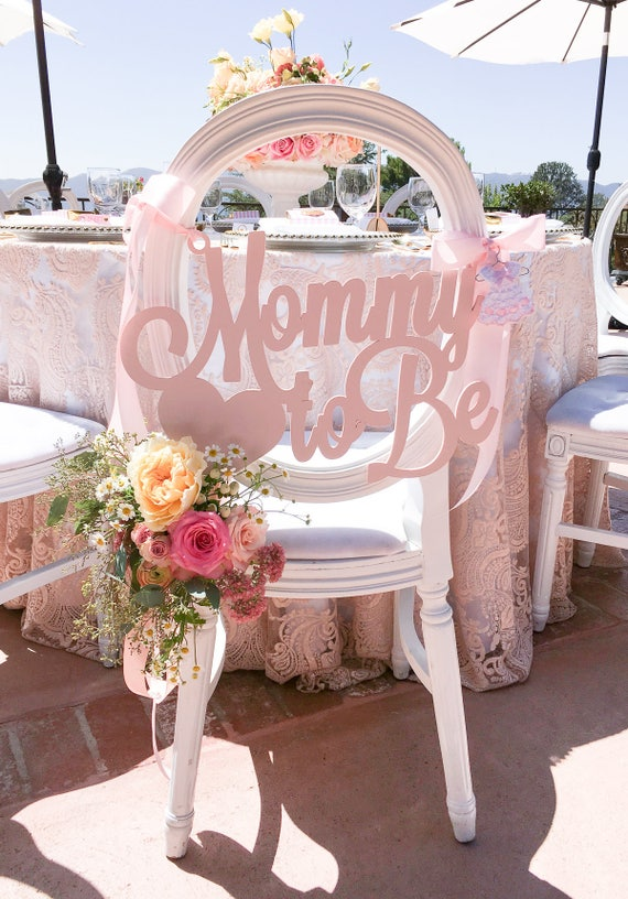 Baby shower chair sign mommy to be wooden cutout in custom - Decoration baby shower girl ...