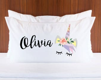Personalized Unicorn Pillowcase with Name for Girls Bedroom Decor - Gift for Her Pillow Unicorn Magical Fairytale Room Decor (Item - PUN400)