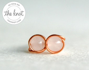 Rose Quartz & Copper Stud Earrings, Gemstone Earrings, Copper Earrings, Anniversary Gift, Gemstone Stud Earrings, Copper Rose Quartz Studs