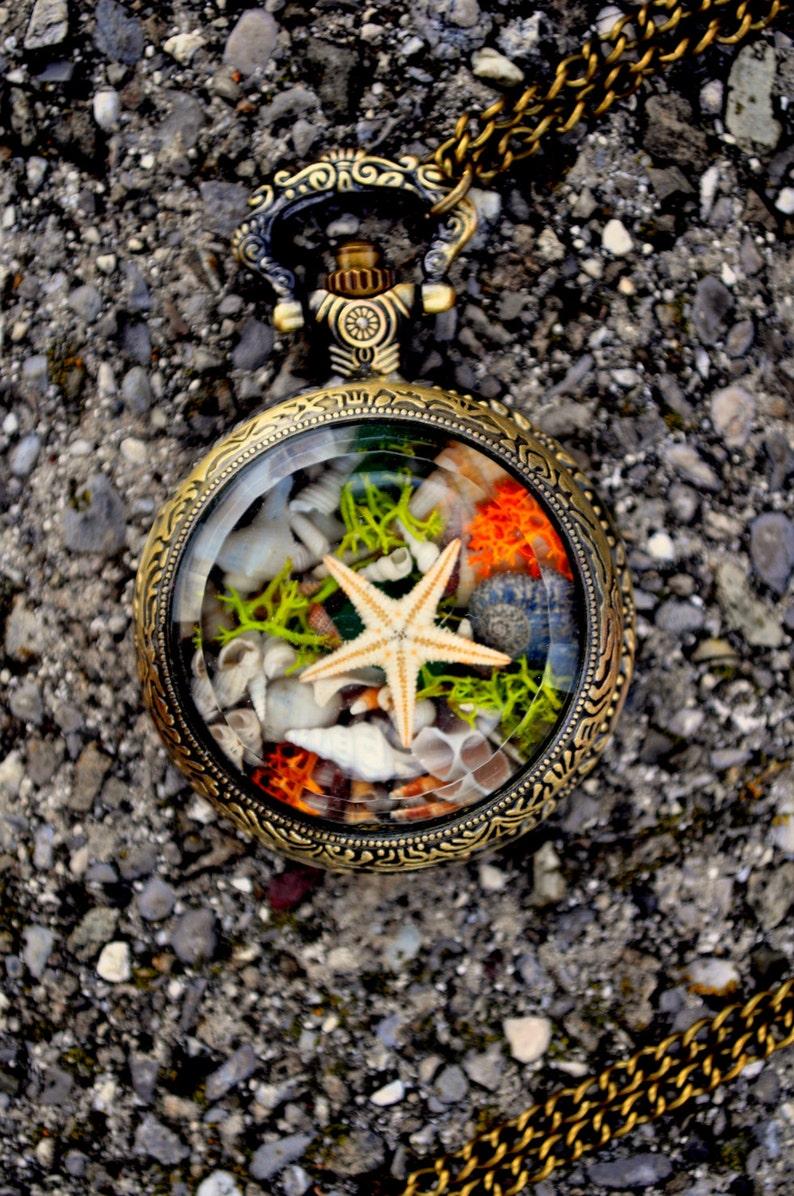 Under the Sea necklace for little mermaids Ocean beach summer necklace Steampunk Vintage Miniature terrarium Nautical terrarium Necklace